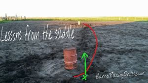 Make sure your horse is leaving the second barrel straight and strong (green line). The shortest distance between two points is a straight line, so be sure to keep your horse between your hands and legs to help him stay on the line.